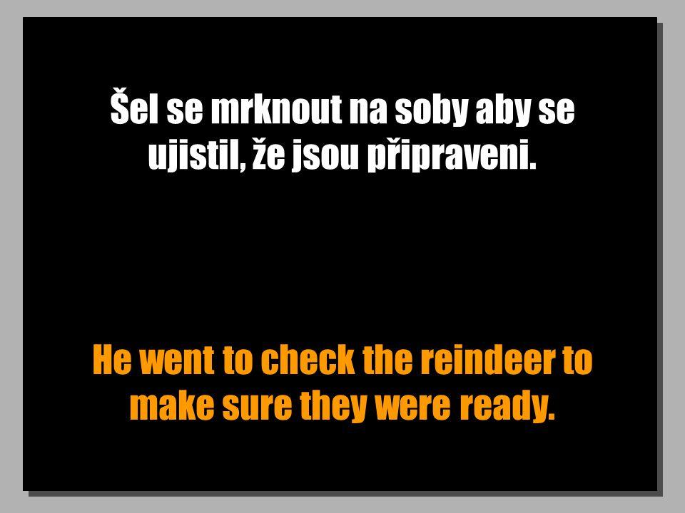 Šel se mrknout na soby aby se ujistil, že jsou připraveni. He went to check the reindeer to make sure they were ready.