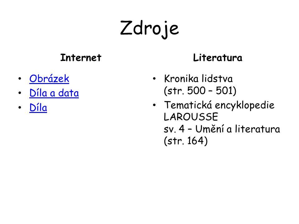 Zdroje Internet Obrázek Díla a data Díla Literatura Kronika lidstva (str.