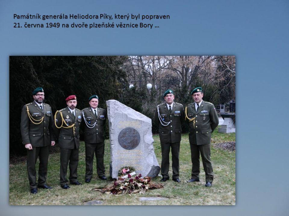 Památník generála Heliodora Píky, který byl popraven 21. června 1949 na dvoře plzeňské věznice Bory …