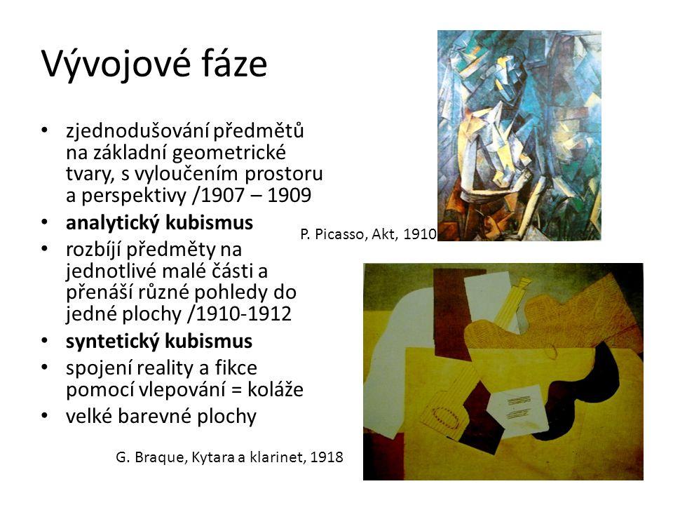 Vývojové fáze zjednodušování předmětů na základní geometrické tvary, s vyloučením prostoru a perspektivy /1907 – 1909 analytický kubismus rozbíjí před
