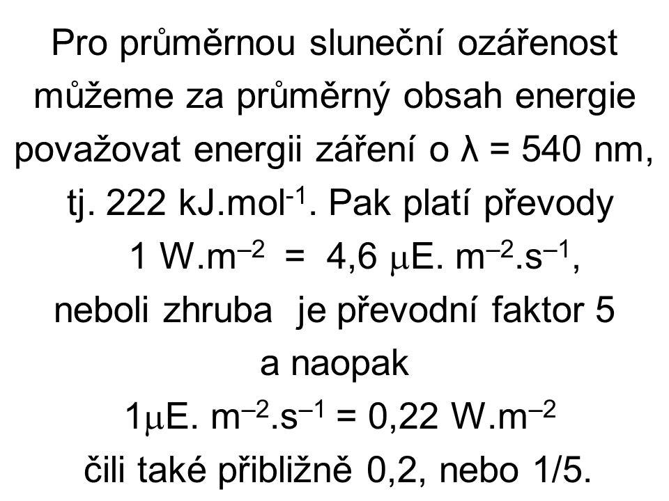 Pro průměrnou sluneční ozářenost můžeme za průměrný obsah energie považovat energii záření o λ = 540 nm, tj.
