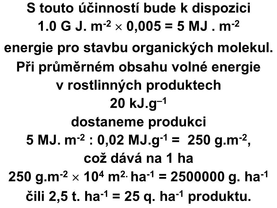 S touto účinností bude k dispozici 1.0 G J. m -2  0,005 = 5 MJ.