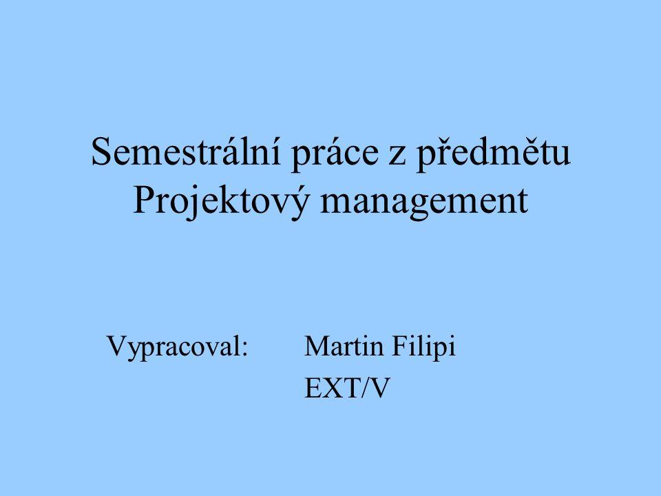 Semestrální práce z předmětu Projektový management Vypracoval: Martin Filipi EXT/V
