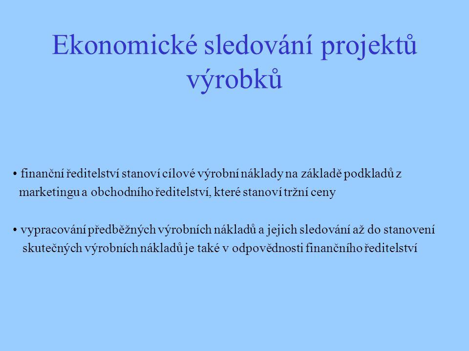 Ekonomické sledování projektů výrobků finanční ředitelství stanoví cílové výrobní náklady na základě podkladů z marketingu a obchodního ředitelství, k