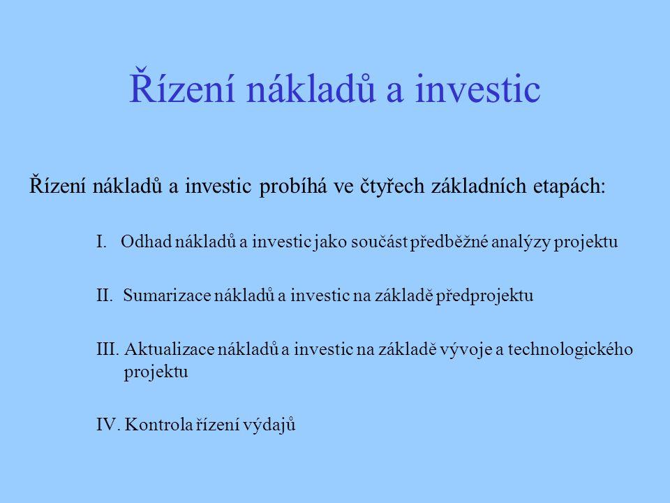 Řízení nákladů a investic Řízení nákladů a investic probíhá ve čtyřech základních etapách: I. Odhad nákladů a investic jako součást předběžné analýzy