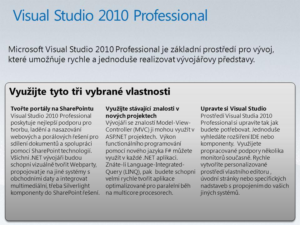 Využijte tyto tři vybrané vlastnosti Microsoft Visual Studio 2010 Professional je základní prostředí pro vývoj, které umožňuje rychle a jednoduše realizovat vývojářovy představy.
