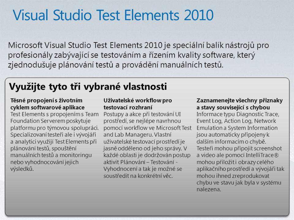 Využijte tyto tři vybrané vlastnosti Microsoft Visual Studio Test Elements 2010 je speciální balík nástrojů pro profesionály zabývající se testováním a řízením kvality software, který zjednodušuje plánování testů a provádění manuálních testů.