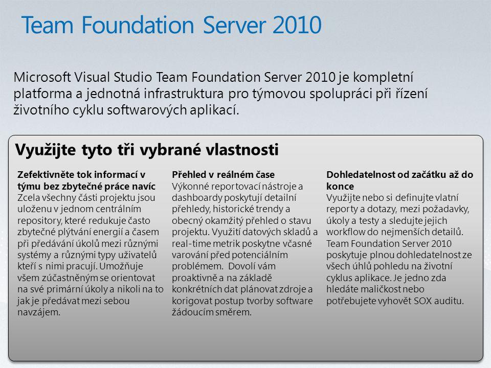 Využijte tyto tři vybrané vlastnosti Microsoft Visual Studio Team Foundation Server 2010 je kompletní platforma a jednotná infrastruktura pro týmovou spolupráci při řízení životního cyklu softwarových aplikací.