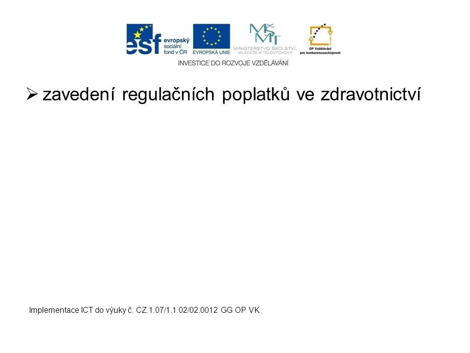  zavedení regulačních poplatků ve zdravotnictví Implementace ICT do výuky č. CZ.1.07/1.1.02/02.0012 GG OP VK