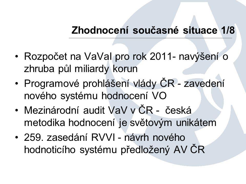 Rozpočet na VaVaI pro rok 2011- navýšení o zhruba půl miliardy korun Programové prohlášení vlády ČR - zavedení nového systému hodnocení VO Mezinárodní audit VaV v ČR - česká metodika hodnocení je světovým unikátem 259.