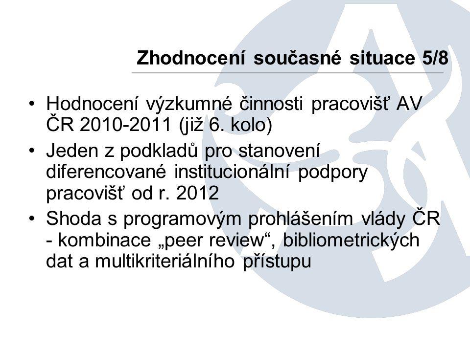 Hodnocení výzkumné činnosti pracovišť AV ČR 2010-2011 (již 6. kolo) Jeden z podkladů pro stanovení diferencované institucionální podpory pracovišť od