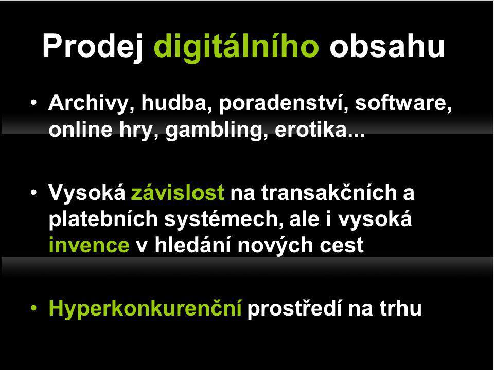 Archivy, hudba, poradenství, software, online hry, gambling, erotika...