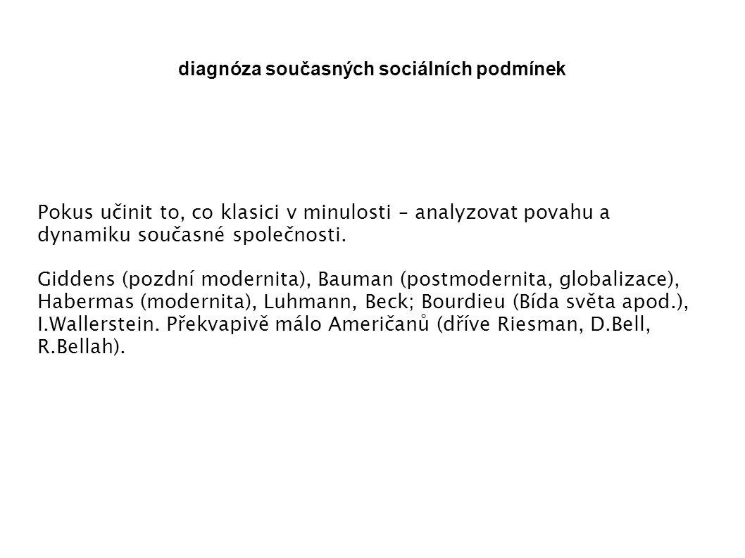 diagnóza současných sociálních podmínek Pokus učinit to, co klasici v minulosti – analyzovat povahu a dynamiku současné společnosti.