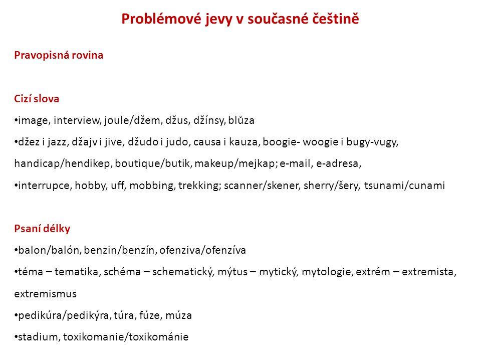 Problémové jevy v současné češtině Pravopisná rovina Cizí slova image, interview, joule/džem, džus, džínsy, blůza džez i jazz, džajv i jive, džudo i j