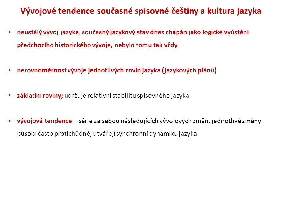 Vývojové tendence současné spisovné češtiny a kultura jazyka neustálý vývoj jazyka, současný jazykový stav dnes chápán jako logické vyústění předchozí