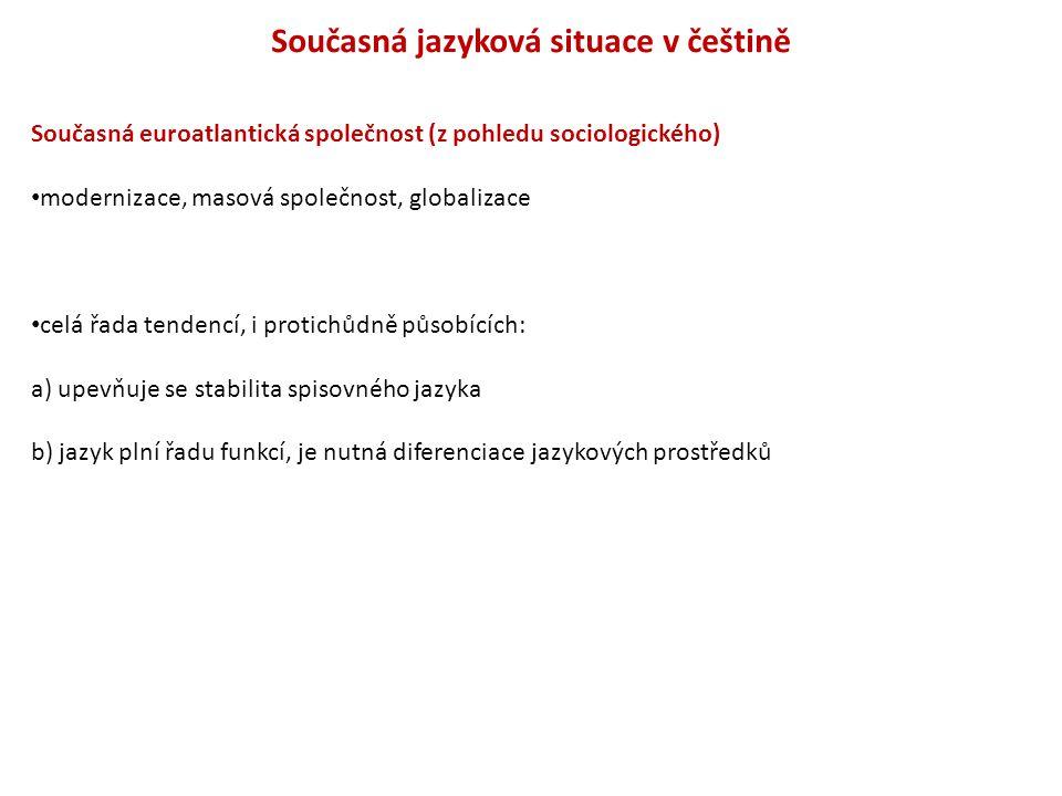 Současná jazyková situace v češtině Současná euroatlantická společnost (z pohledu sociologického) modernizace, masová společnost, globalizace celá řad