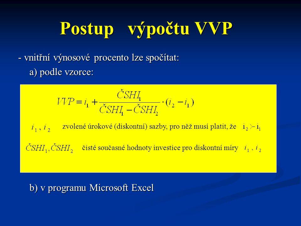 Postup výpočtu VVP - vnitřní výnosové procento lze spočítat: a) podle vzorce: b) v programu Microsoft Excel zvolené úrokové (diskontní) sazby, pro něž musí platit, že čisté současné hodnoty investice pro diskontní míry