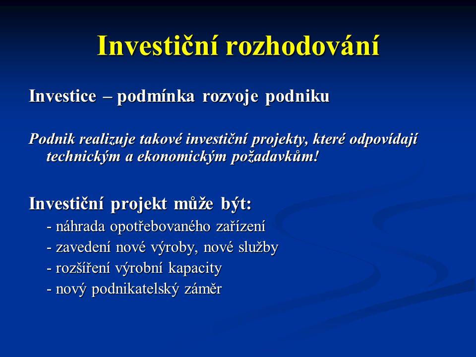 Zdroje investic Vlastní zdroje: - odpisy - zisk - výnosy z prodeje a likvidace hmotného majetku - nově vydané akcie Cizí zdroje: - investiční úvěr - obligace - splátkový prodej nebo leasing