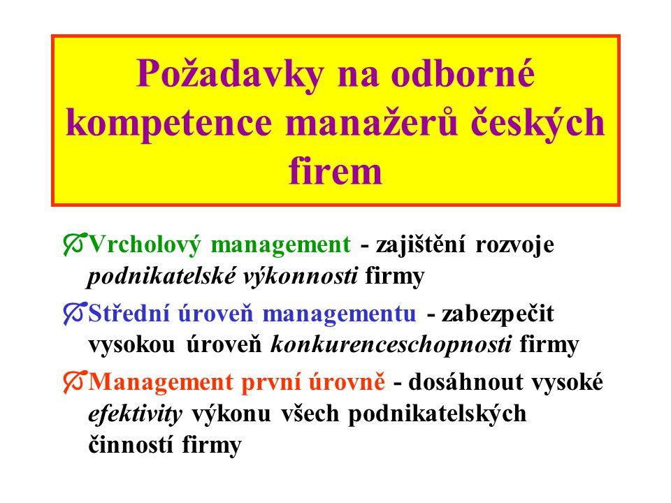 Manažeři současné firmy plně zodpovídají za výsledky jejích podnikatelských aktivit, jejich úkolem je zajistit: Takovou úroveň podnikatelské výkonnost