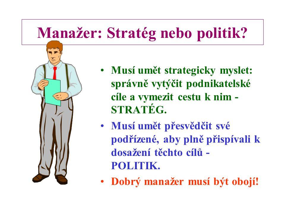 Požadavky na odborné kompetence manažerů českých firem  Vrcholový management - zajištění rozvoje podnikatelské výkonnosti firmy  Střední úroveň mana
