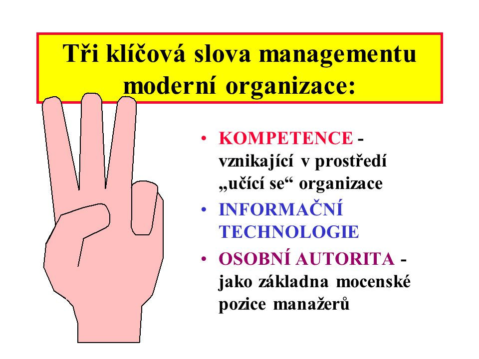 Co je hlavním úkolem dnešních manažerů? Zajistit pružné přizpůsobení organizace vývoji v jejím okolí - znamená to zaměřit se ve značné míře navenek, n