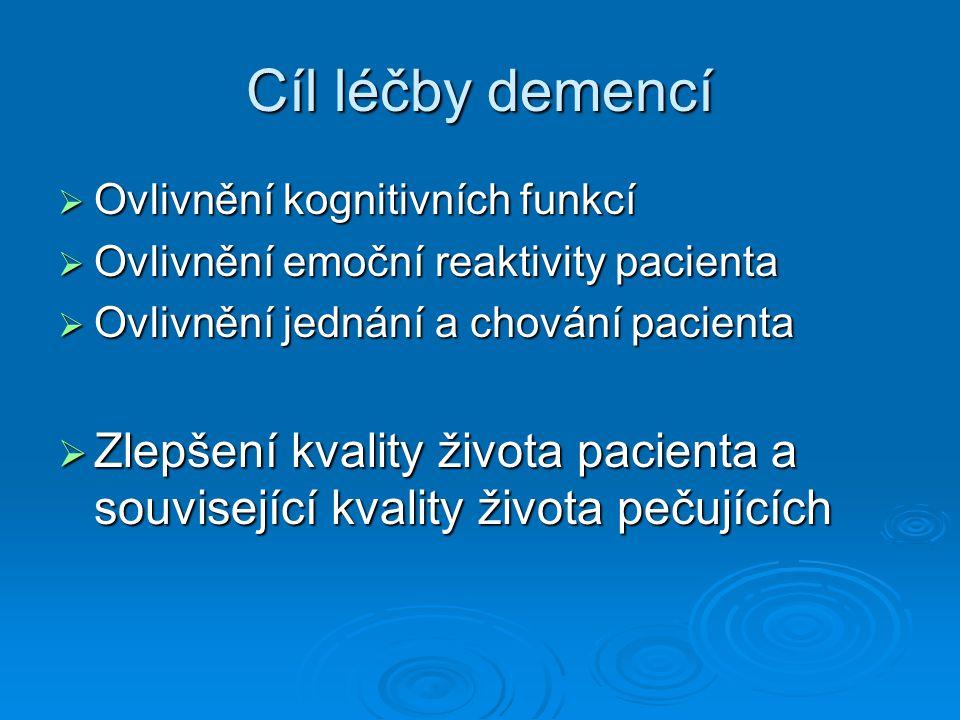 Očekávání v léčbě  Stabilizace nemocného  Oddálení progrese choroby  Oddálení přechodu do těžších stádií  Oddálení nutnosti hospitalizace  Prodloužení doby soběstačnosti pacienta  Zlepšení a prodloužení funkčních schopností  Snížení náročnosti ošetřovatelské péče