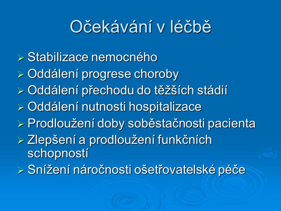 Zlepšení stavu pacienta  Je klinicky zjevné, zlepší se funkční i kognitivní výkon pacienta  Podaří se dosáhnout jen zřídka
