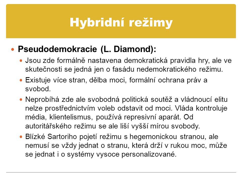 Hybridní režimy Pseudodemokracie (L. Diamond): Jsou zde formálně nastavena demokratická pravidla hry, ale ve skutečnosti se jedná jen o fasádu nedemok
