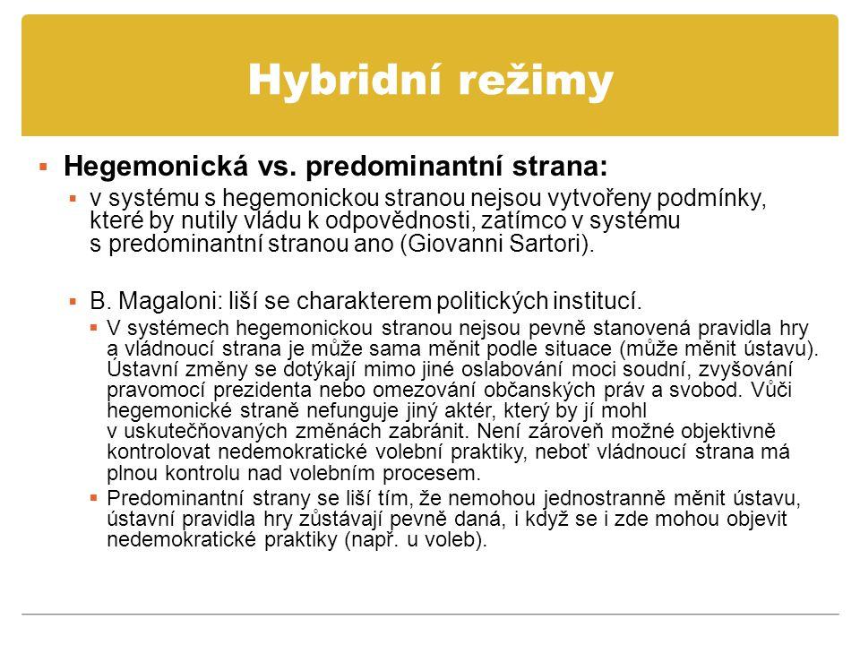 Hybridní režimy  Hegemonická vs. predominantní strana:  v systému s hegemonickou stranou nejsou vytvořeny podmínky, které by nutily vládu k odpovědn