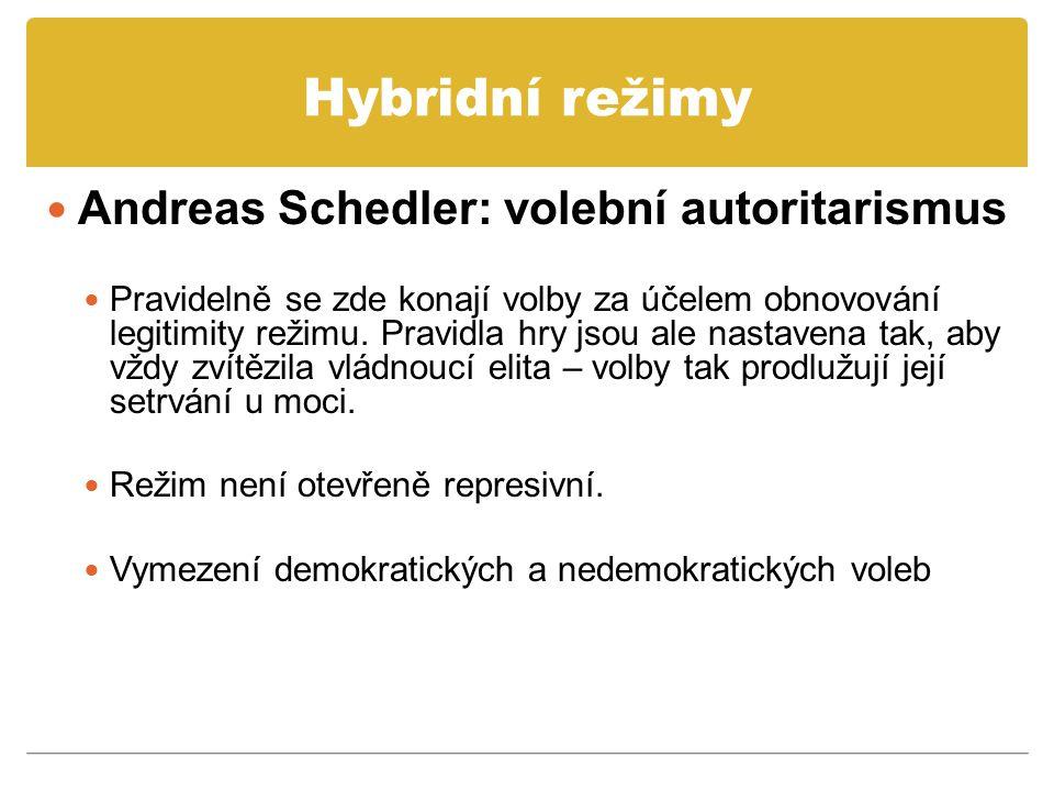 Hybridní režimy Andreas Schedler: volební autoritarismus Pravidelně se zde konají volby za účelem obnovování legitimity režimu. Pravidla hry jsou ale