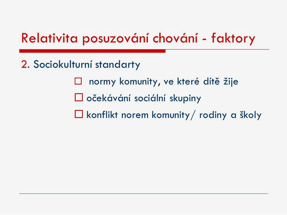 Relativita posuzování chování - faktory 2. Sociokulturní standarty  normy komunity, ve které dítě žije  očekávání sociální skupiny  konflikt norem