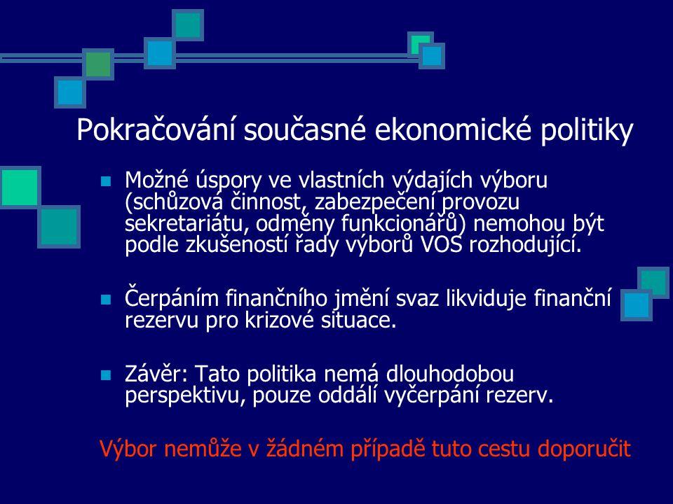 Pokračování současné ekonomické politiky Možné úspory ve vlastních výdajích výboru (schůzová činnost, zabezpečení provozu sekretariátu, odměny funkcionářů) nemohou být podle zkušeností řady výborů VOS rozhodující.