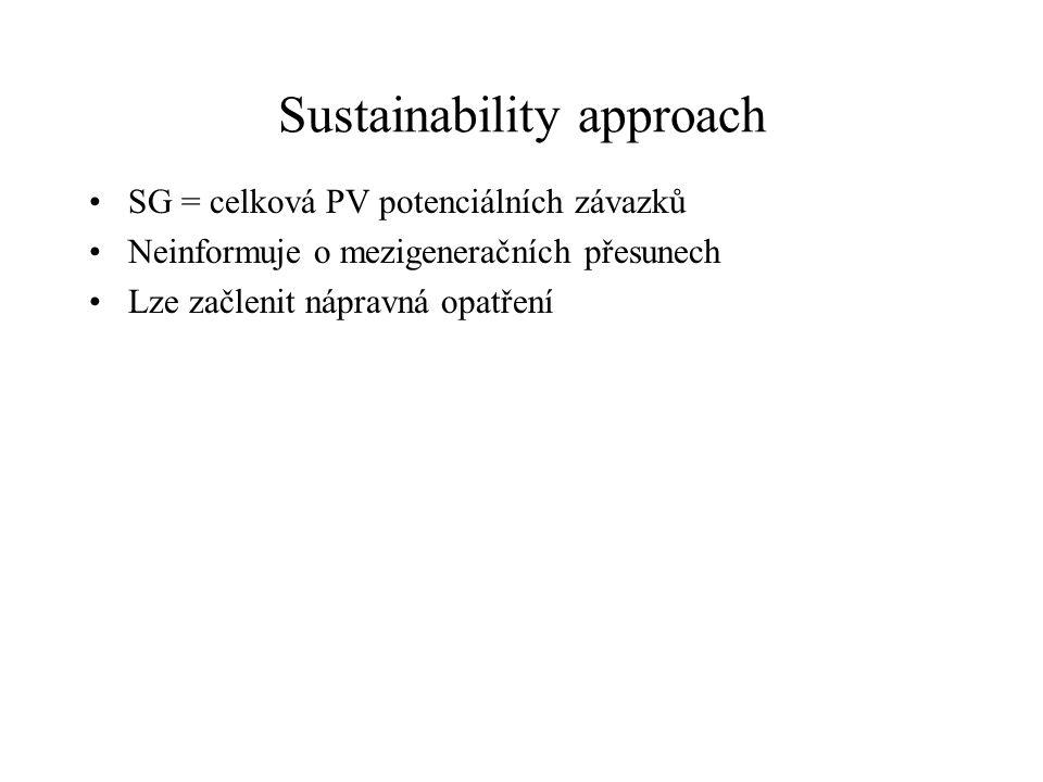 Sustainability approach SG = celková PV potenciálních závazků Neinformuje o mezigeneračních přesunech Lze začlenit nápravná opatření