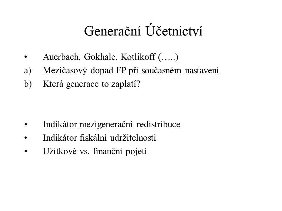 Generační Účetnictví Auerbach, Gokhale, Kotlikoff (…..) a)Mezičasový dopad FP při současném nastavení b)Která generace to zaplatí.