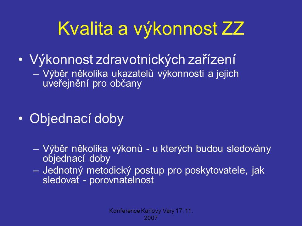 Konference Karlovy Vary 17. 11. 2007 Kvalita a výkonnost ZZ Výkonnost zdravotnických zařízení –Výběr několika ukazatelů výkonnosti a jejich uveřejnění
