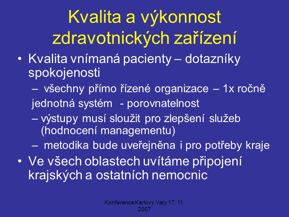 Konference Karlovy Vary 17. 11. 2007 Kvalita a výkonnost zdravotnických zařízení Kvalita vnímaná pacienty – dotazníky spokojenosti – všechny přímo říz
