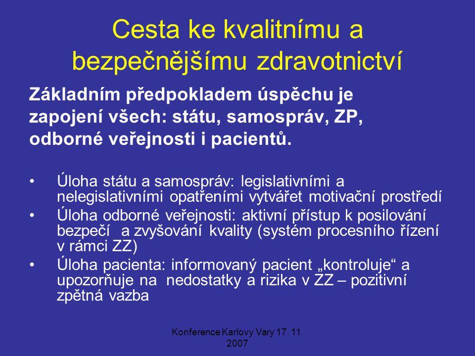 Konference Karlovy Vary 17. 11. 2007 Cesta ke kvalitnímu a bezpečnějšímu zdravotnictví Základním předpokladem úspěchu je zapojení všech: státu, samosp