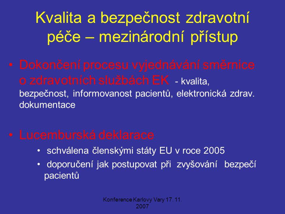 Konference Karlovy Vary 17. 11. 2007 Kvalita a bezpečnost zdravotní péče – mezinárodní přístup Dokončení procesu vyjednávání směrnice o zdravotních sl