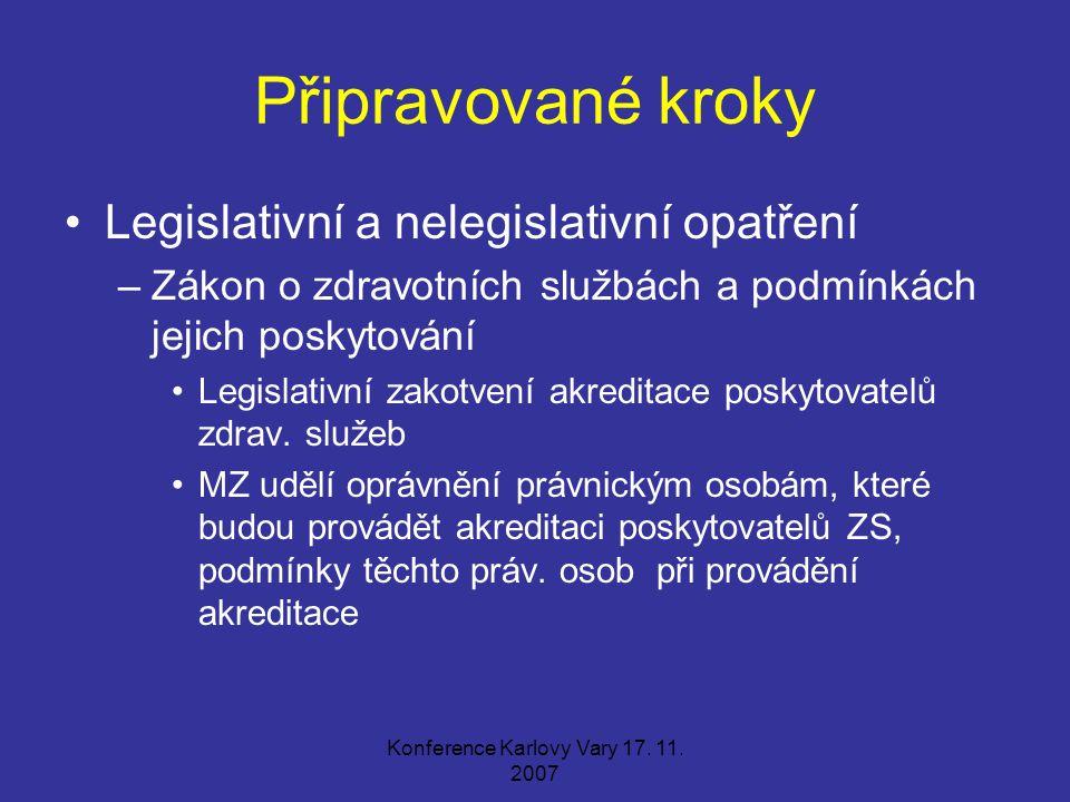 Konference Karlovy Vary 17. 11. 2007 Připravované kroky Legislativní a nelegislativní opatření –Zákon o zdravotních službách a podmínkách jejich posky