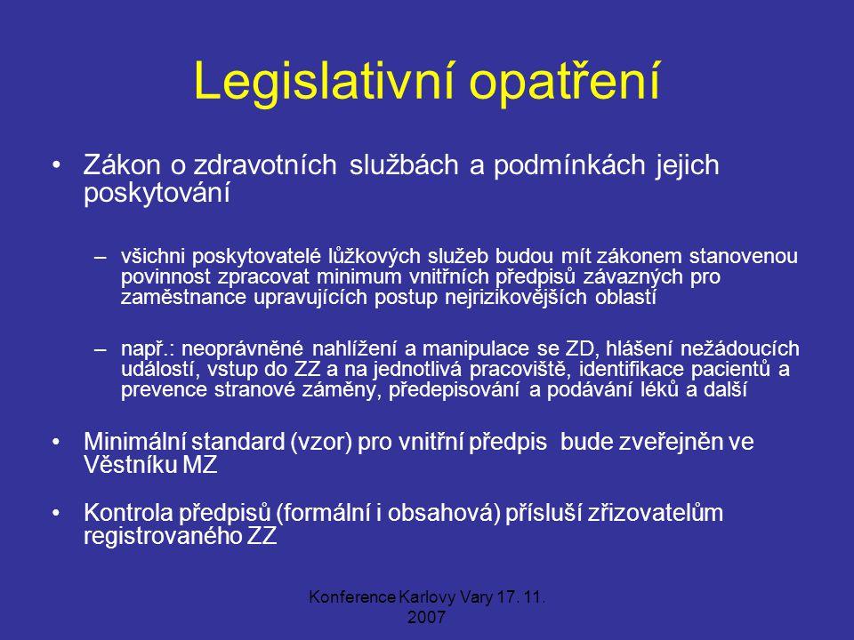 Konference Karlovy Vary 17. 11. 2007 Legislativní opatření Zákon o zdravotních službách a podmínkách jejich poskytování –všichni poskytovatelé lůžkový