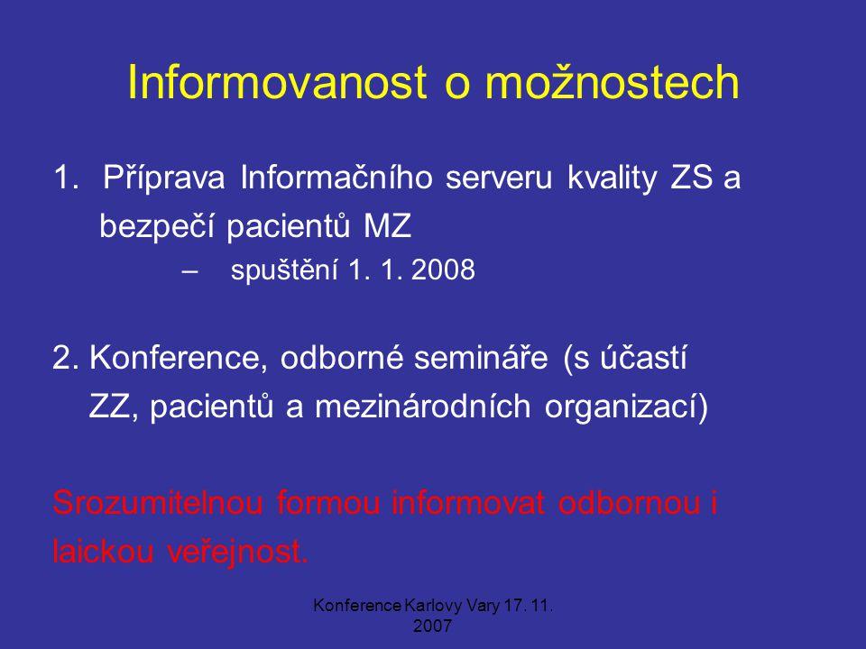 Konference Karlovy Vary 17. 11. 2007 Informovanost o možnostech 1.Příprava Informačního serveru kvality ZS a bezpečí pacientů MZ – spuštění 1. 1. 2008