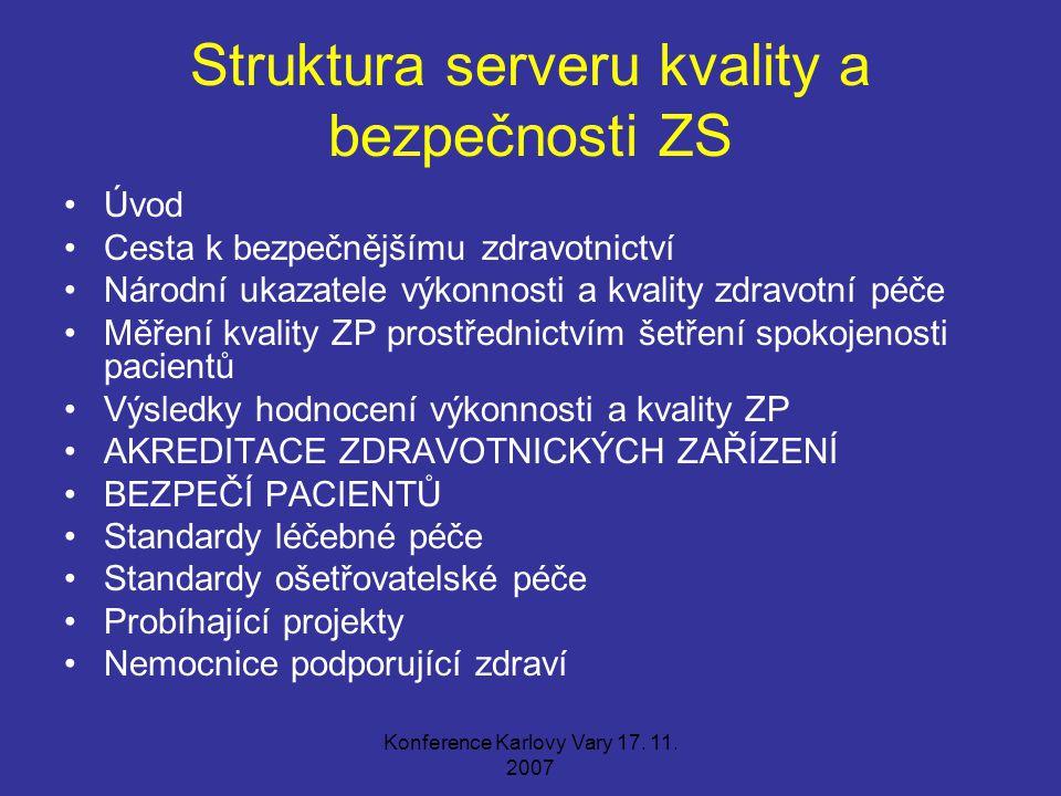 Konference Karlovy Vary 17. 11. 2007 Struktura serveru kvality a bezpečnosti ZS Úvod Cesta k bezpečnějšímu zdravotnictví Národní ukazatele výkonnosti