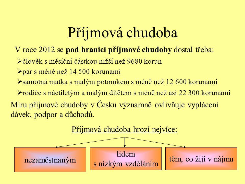 Příjmová chudoba V roce 2012 se pod hranici příjmové chudoby dostal třeba:  člověk s měsíční částkou nižší než 9680 korun  pár s méně než 14 500 kor