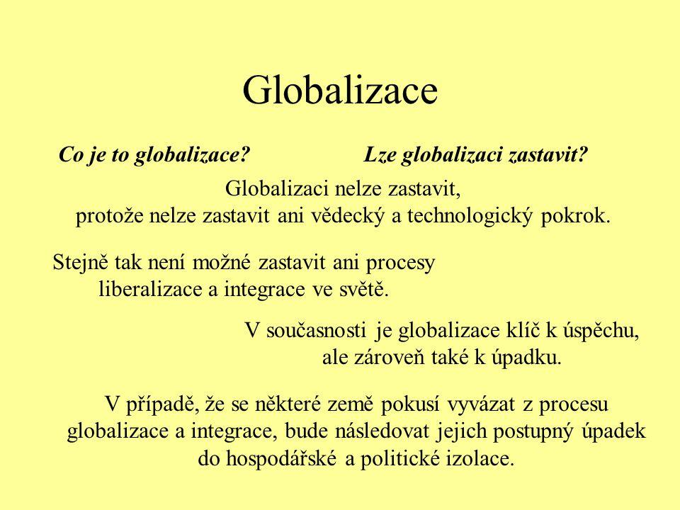 Globalizace Co je to globalizace?Lze globalizaci zastavit? Globalizaci nelze zastavit, protože nelze zastavit ani vědecký a technologický pokrok. Stej