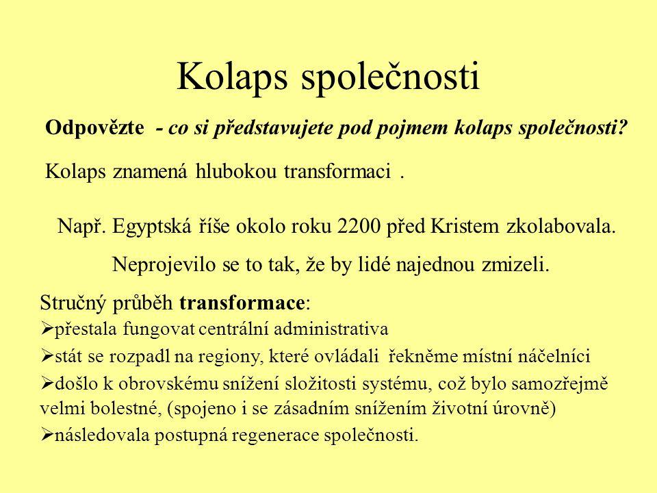 Kolaps společnosti Kolaps znamená hlubokou transformaci. Např. Egyptská říše okolo roku 2200 před Kristem zkolabovala. Odpovězte - co si představujete