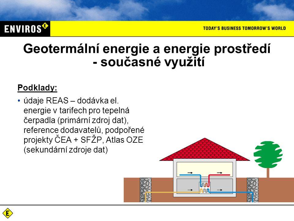 Geotermální energie a energie prostředí - současné využití Podklady: údaje REAS – dodávka el. energie v tarifech pro tepelná čerpadla (primární zdroj