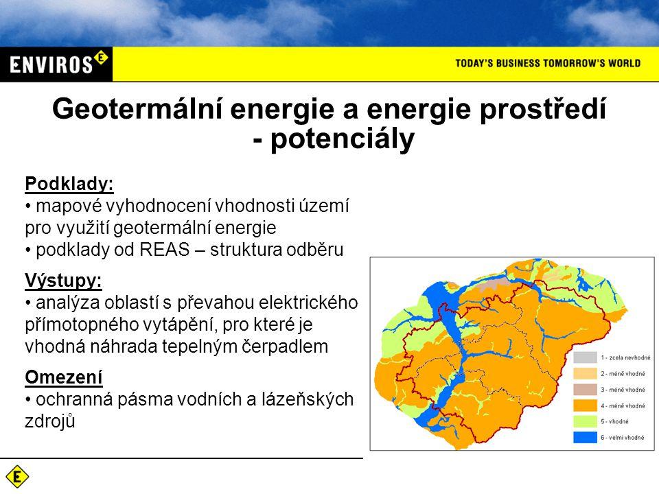 Geotermální energie a energie prostředí - potenciály Podklady: mapové vyhodnocení vhodnosti území pro využití geotermální energie podklady od REAS – s