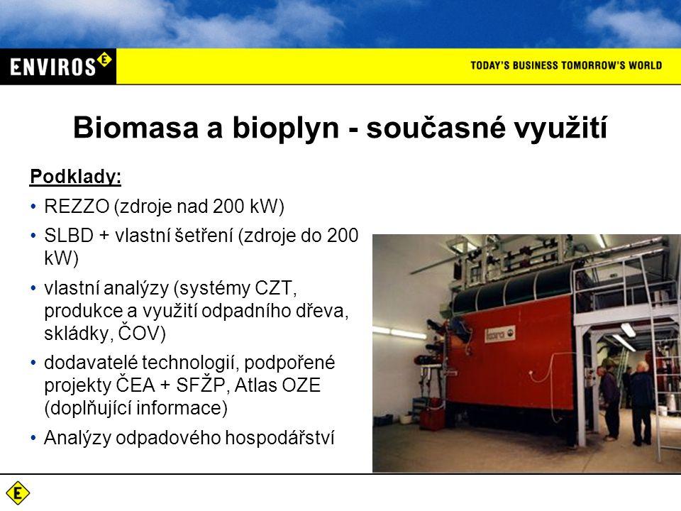 Biomasa a bioplyn - současné využití Podklady: REZZO (zdroje nad 200 kW) SLBD + vlastní šetření (zdroje do 200 kW) vlastní analýzy (systémy CZT, produ