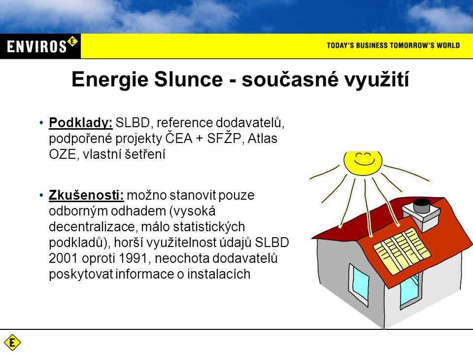 Podklady: klimatologické charakteristiky, SLBD, vlastní šetření Výstupy: - posouzení vhodnosti přírodních podmínek - vytipování vhodných technologií využitelných v regionu - stanovení technického potenciálu využití sluneční energie po obcích - odhad využitelného potenciálu sluneční energie v rodinných a bytových domech po obcích Energie Slunce - potenciály