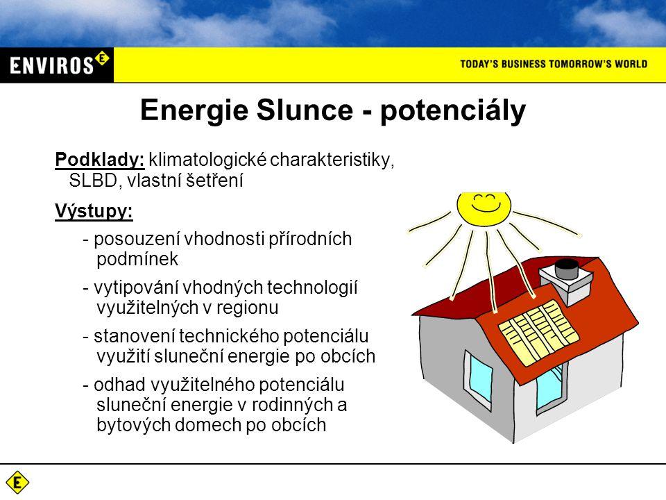 Podklady: klimatologické charakteristiky, SLBD, vlastní šetření Výstupy: - posouzení vhodnosti přírodních podmínek - vytipování vhodných technologií v